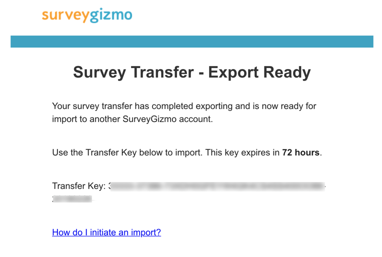 Survey Transfer: Export Ready Email Message