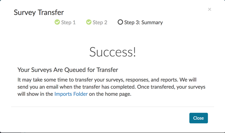 Survey Transfer Success