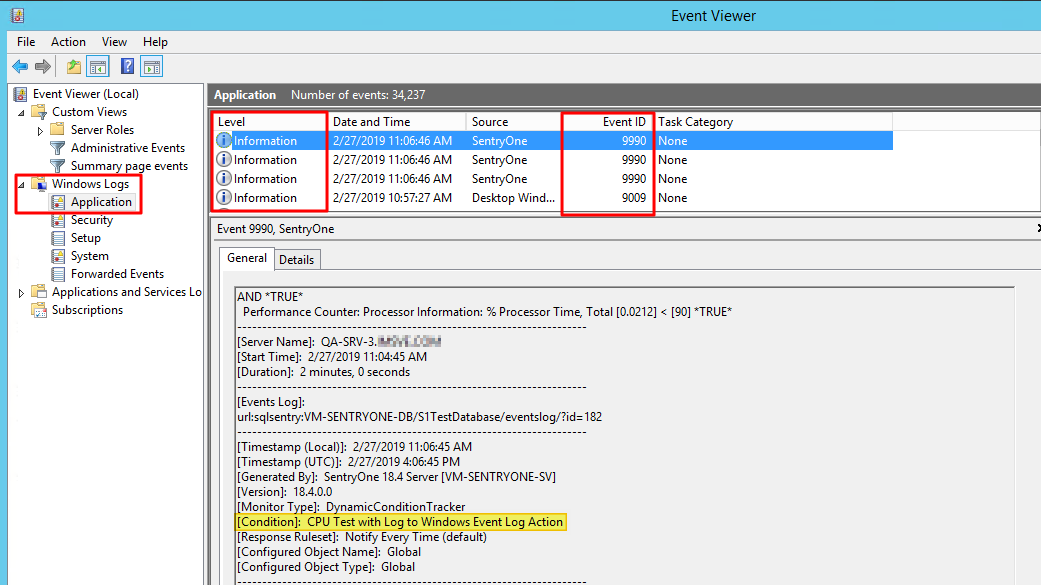 SentryOne Windows Event Viewer