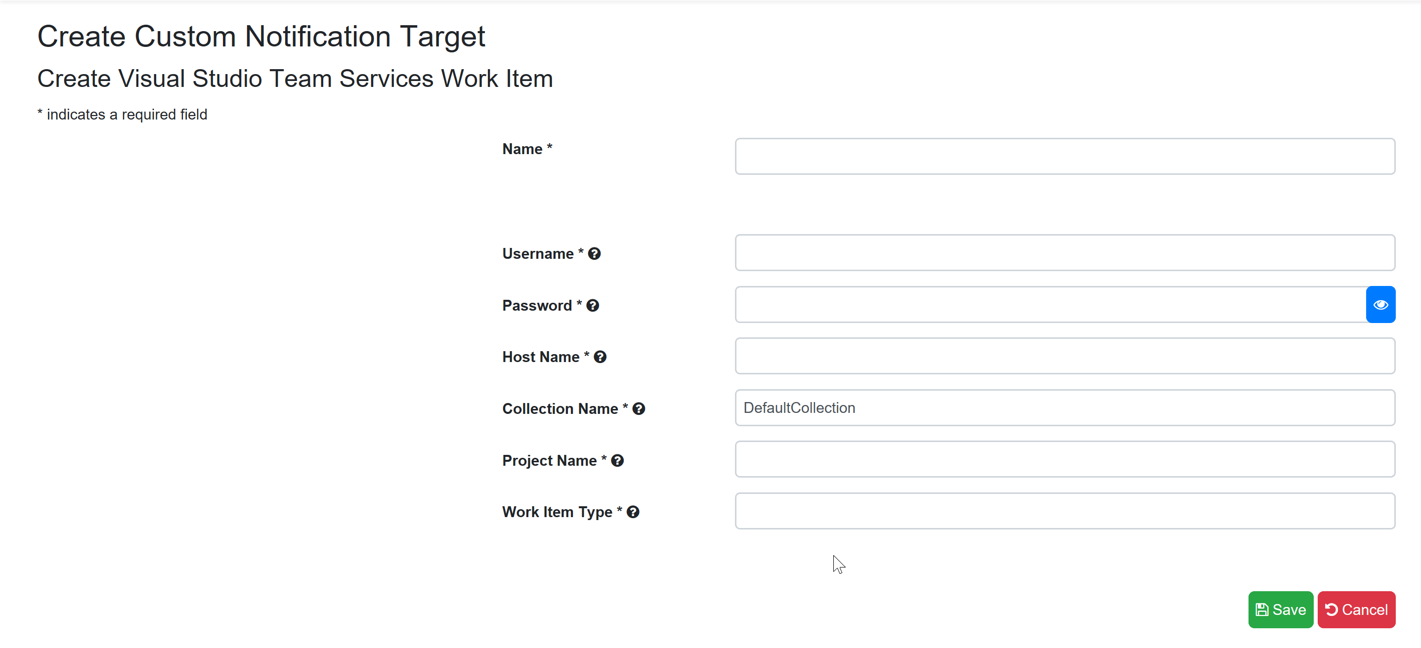SentryOne Test Create Visual Studio Team Services Work Item Target form