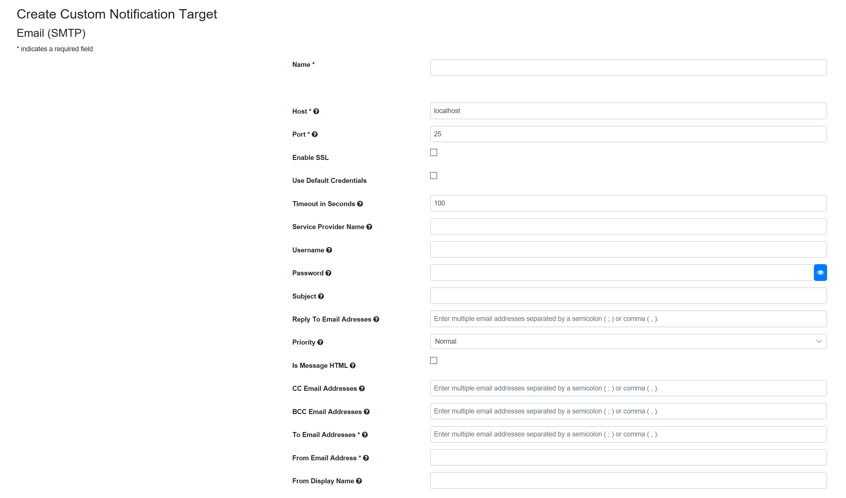 SentryOne Test Create Email (SMTP) Target form