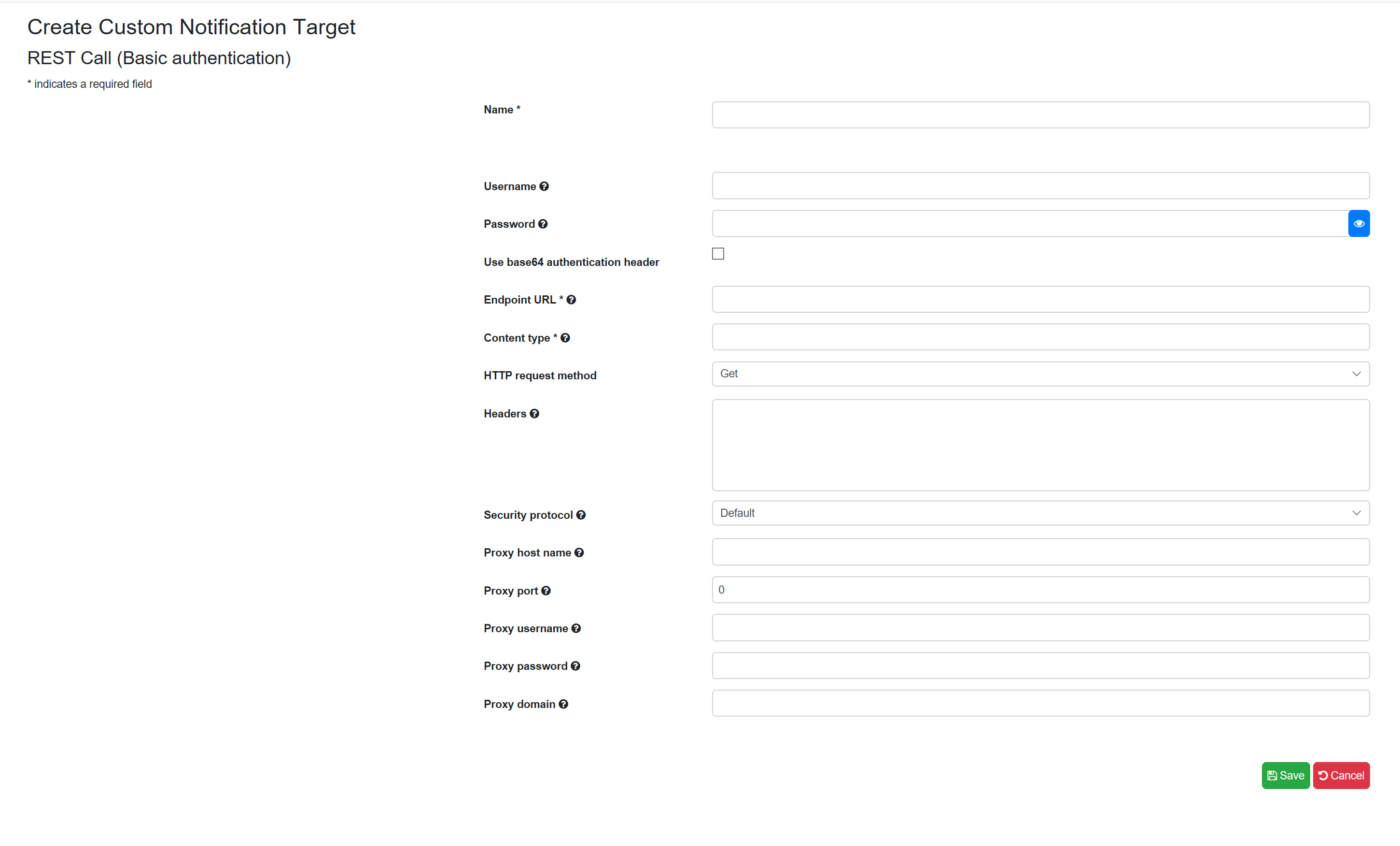 SentryOne Test Create REST Call (Basic Authentication) Target form