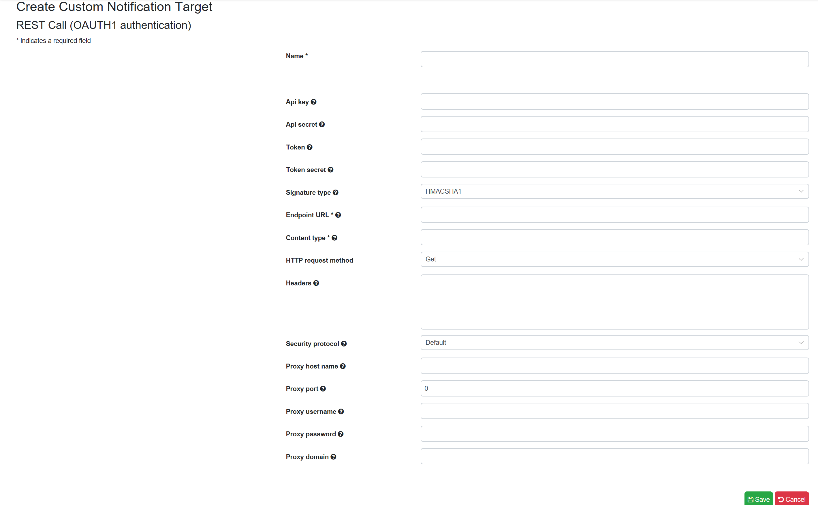 SentryOne Test Create REST Call (OAuth1 authentication) Target form