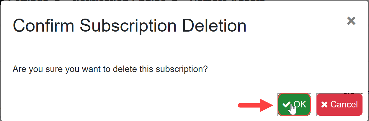 SentryOne Test Confirm Subscription Deletion window