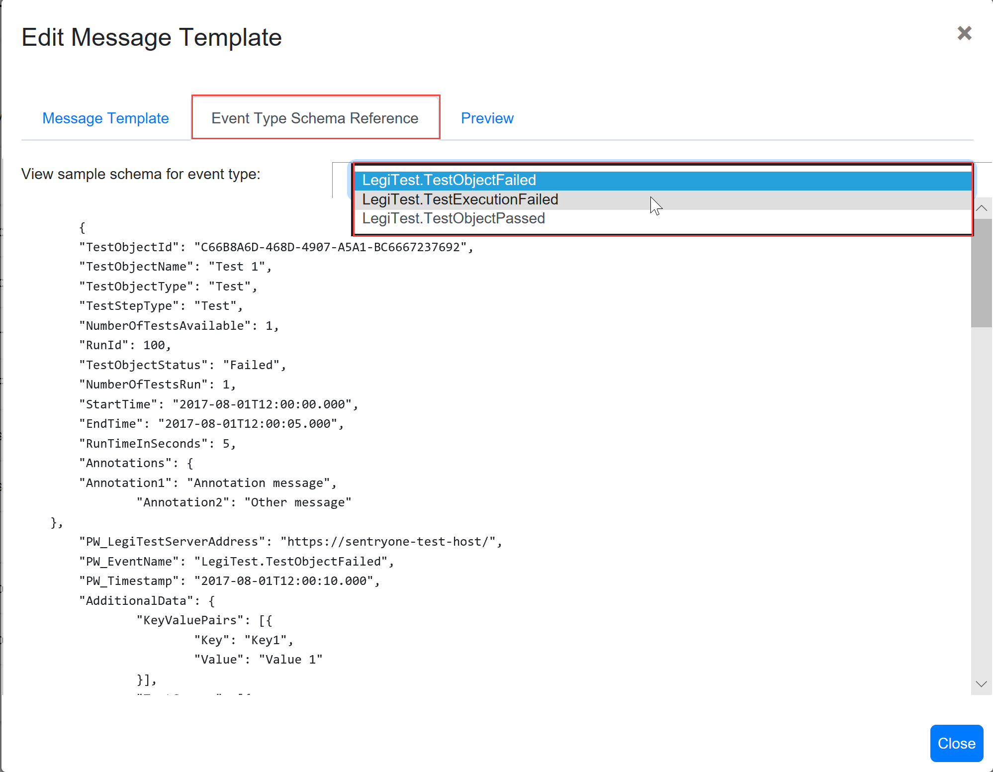 SentryOne Test Edit Message Template Event Type Schema Reference
