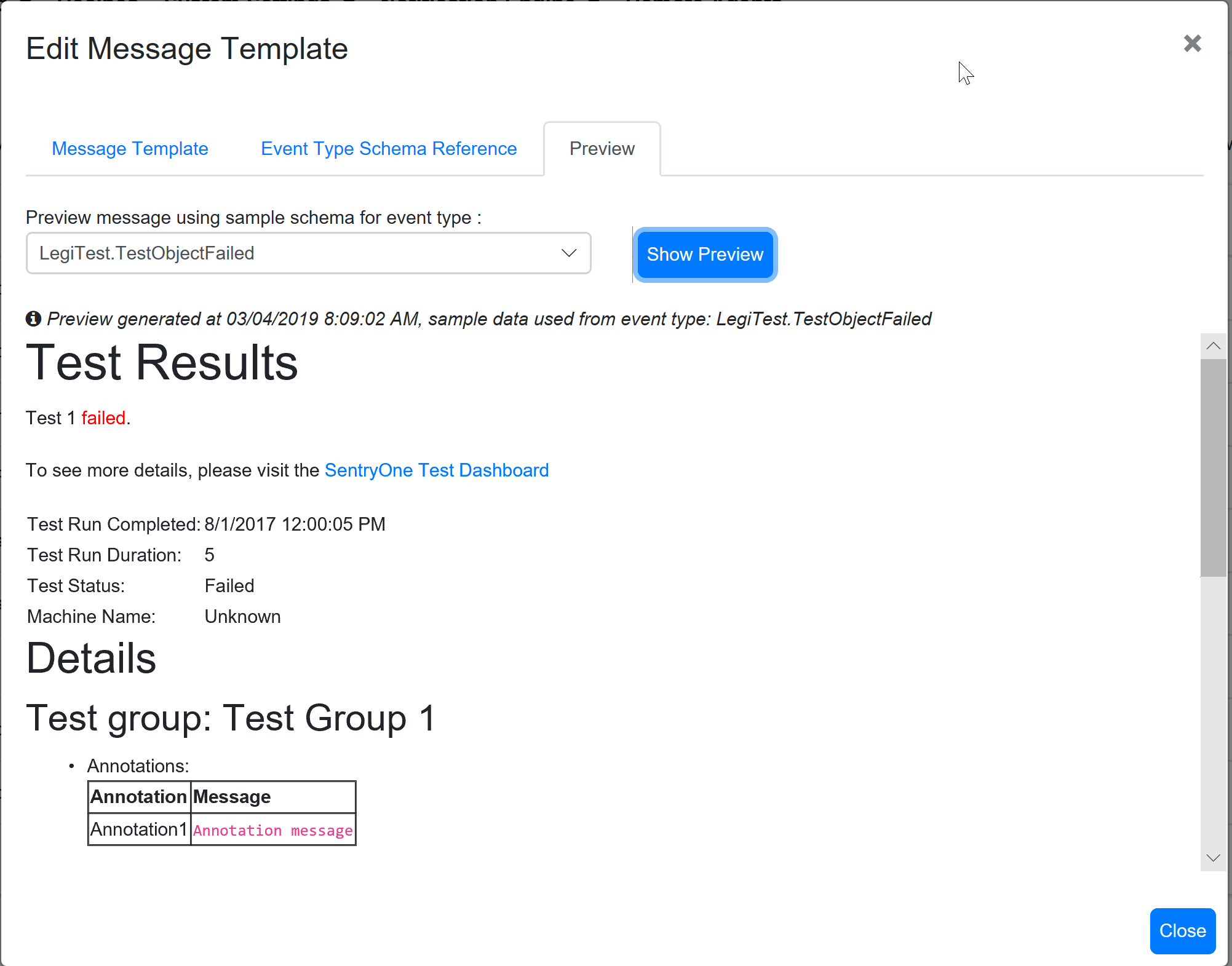 SentryOne Test Edit Message Template Preview tab