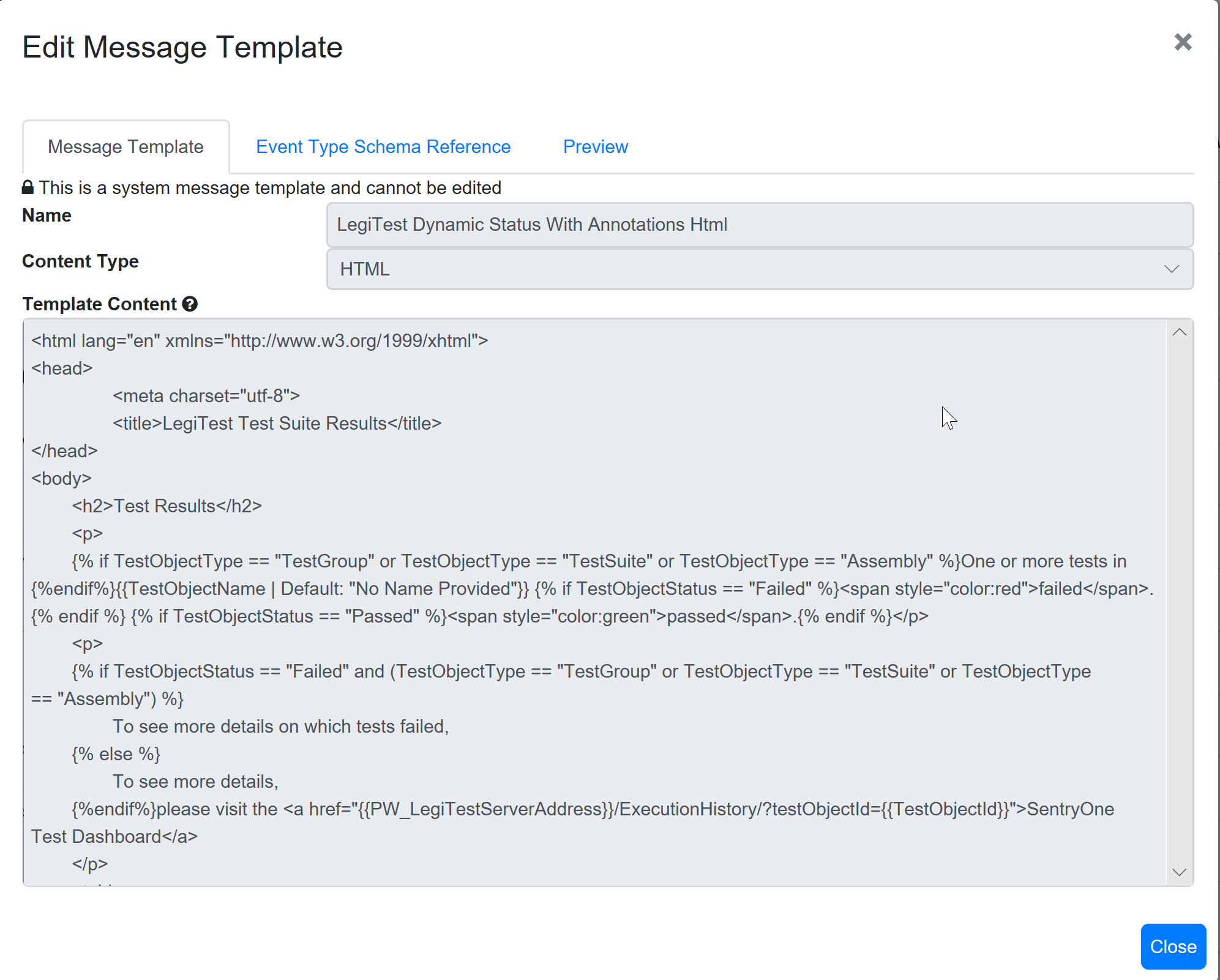 SentryOne Test Edit Message Template view-only
