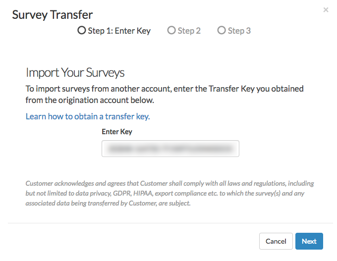 Paste the Survey Transfer Key