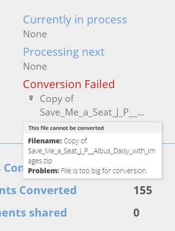 Message within the Snapverter dashboard of why the file failed to converter.