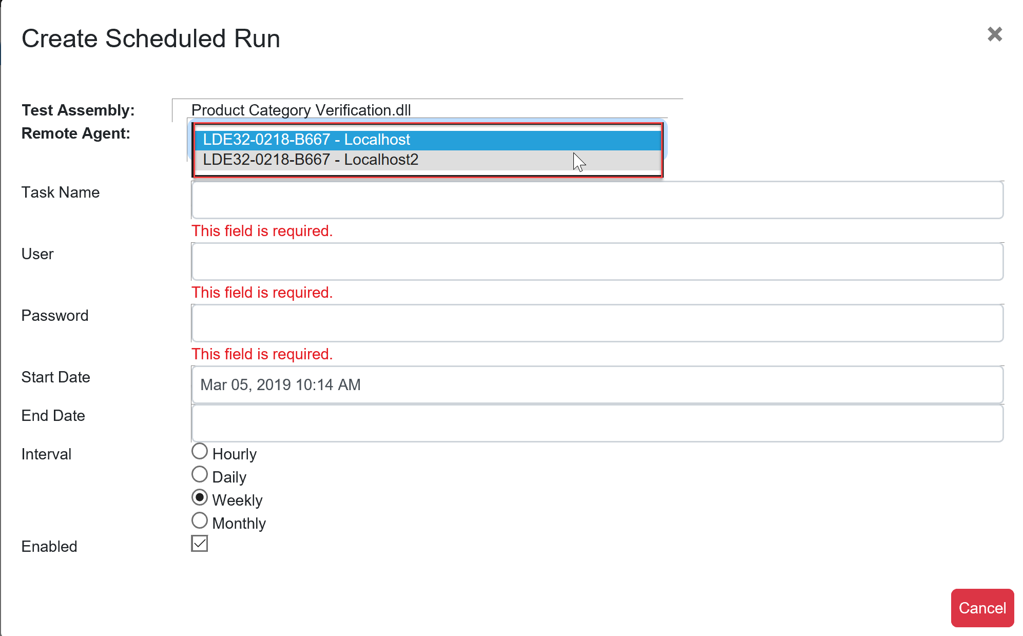 SentryOne Test Create Scheduled Run select Remote Agent