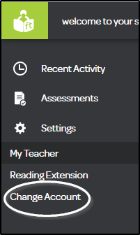 Student Dashboard Change Account
