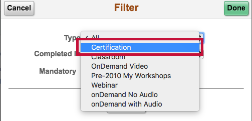 Indicates certification filter