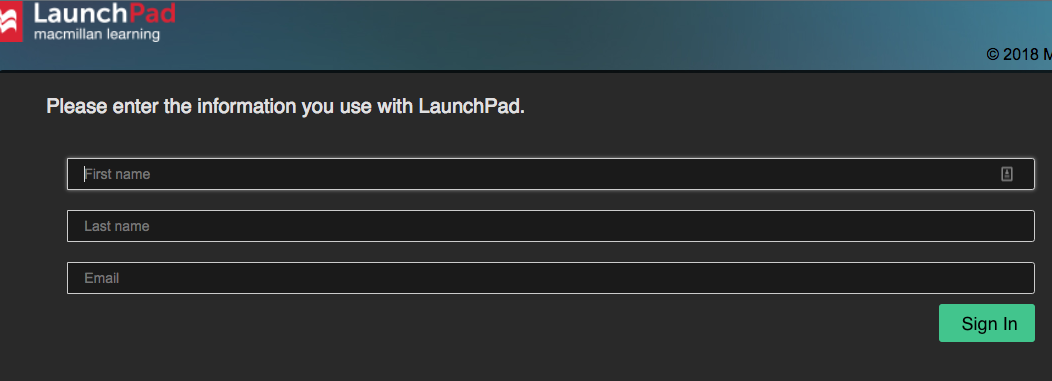 Screenshot shows the LaunchPad log in screen.