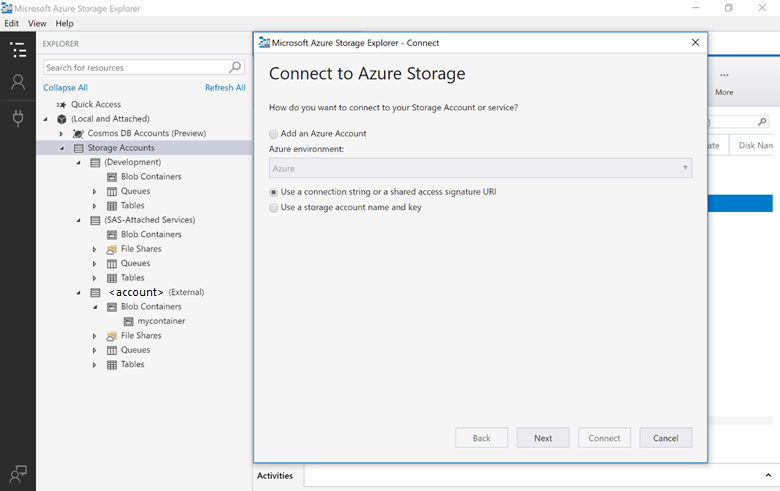 SentryOne Task Factory Connect to Azure Storage