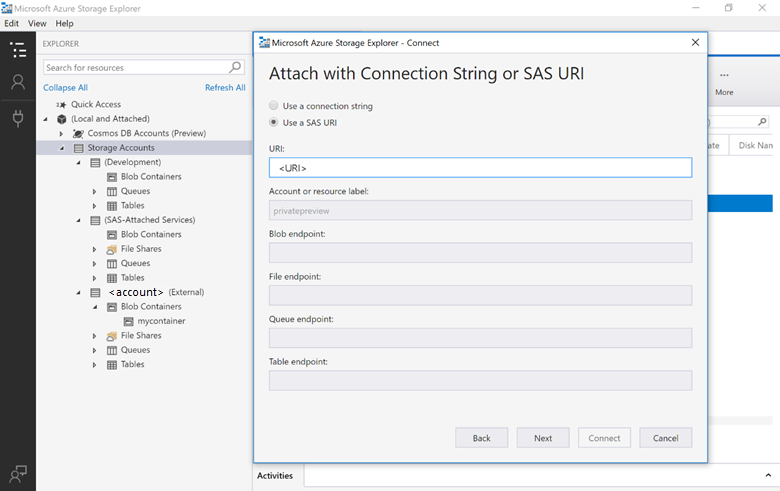 SentryOne Task Factory Attach with Connection String or SAS URI