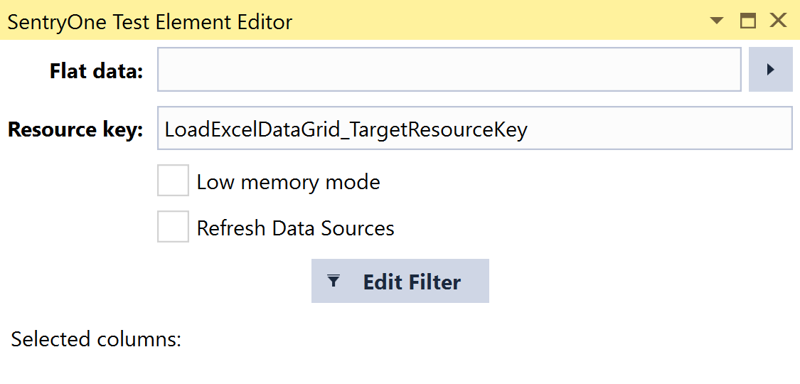 SentryOne Test Load Excel Data Grid Element Editor