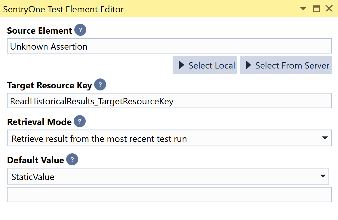 SentryOne Test Read Historical Results Element Editor