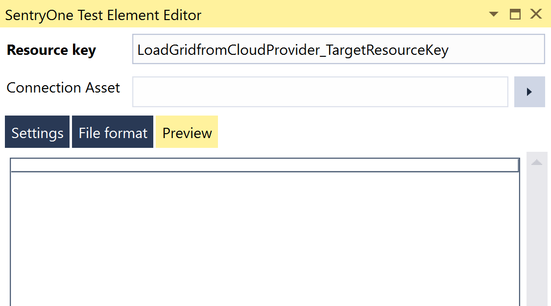 SentryOne Test Load Grid from Cloud Provider Element Editor Preview