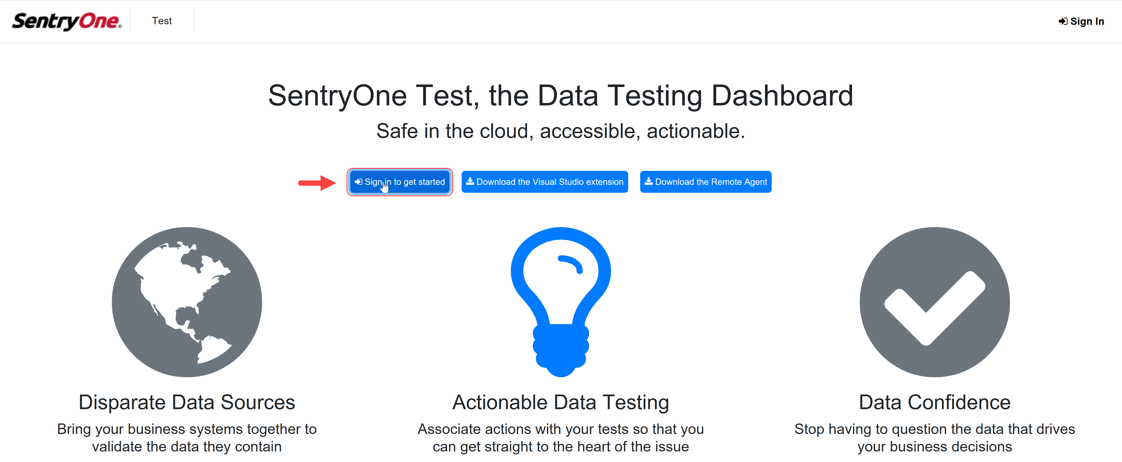 SentryOne Test Web Portal Sign in to get started