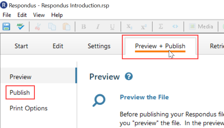 Screenshot displays the Preview + Publish tab option.