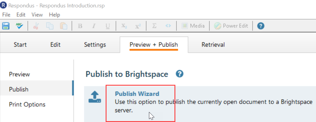 Screenshot shows a mouse hovering over the Publish Wizard option.