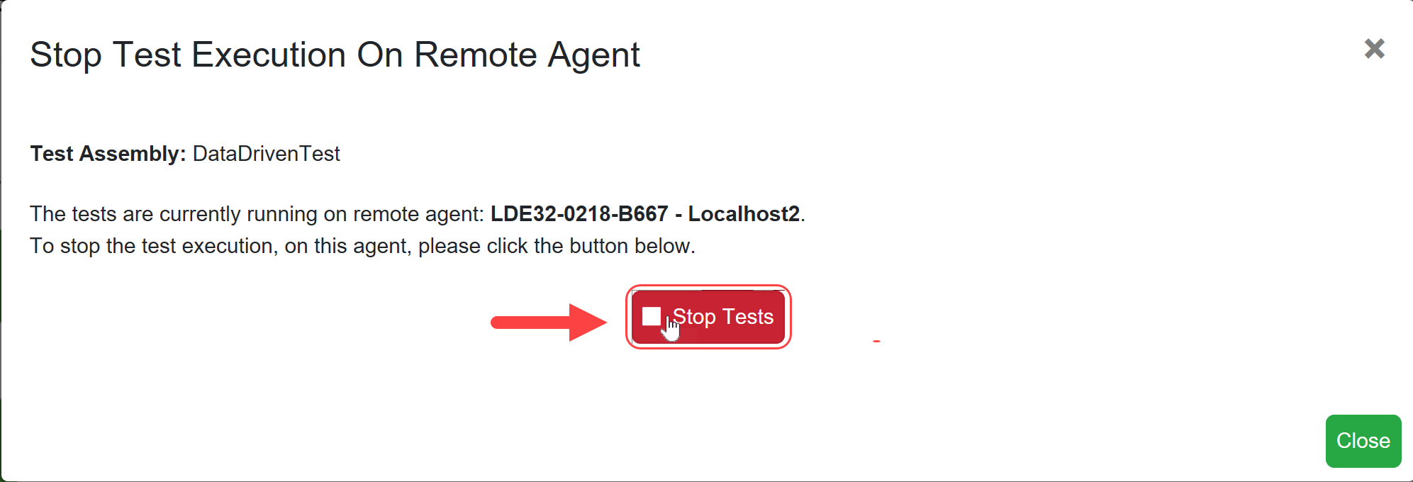 SentryOne Test Stop Test Execution On Remote Agent window