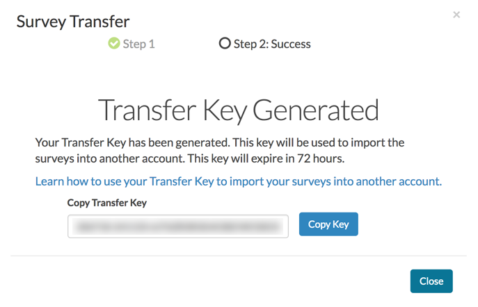 Survey Transfer: Transfer Key Generated