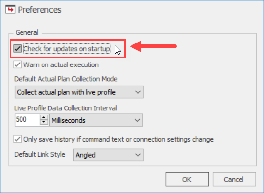 SentryOne Plan Explorer Preferences Check for updates on startup