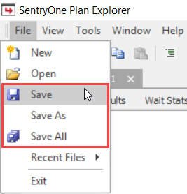 SentryOne Plan Explorer File Save Buttons