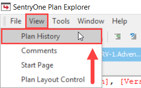 SentryOne Plan Explorer View Plan History