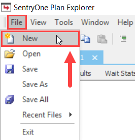 SentryOne Plan Explorer select File > New