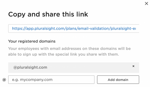 What it looks like with a registered email domain to allow your users to automatically join your business plan.