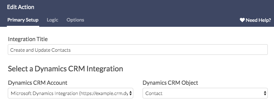 Specify CRM Account and Obejct