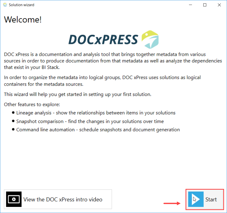 DOC xPress Solution Wizard