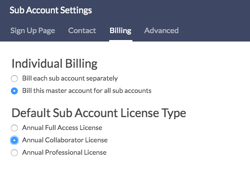 Sub Account Billing Settings