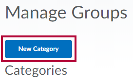 Image shows New Category button under the manage groups page.