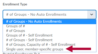 Enrollment type options with