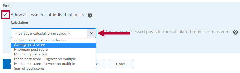 Calculation options for individual posts.