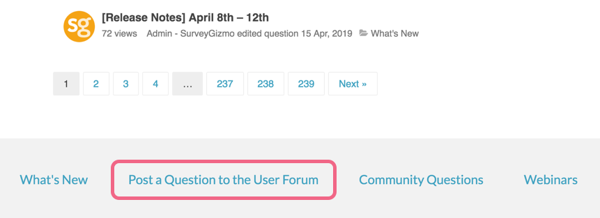 Post a Question to the User Forum