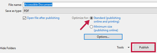 Identifies Standard option and indicates Publish button