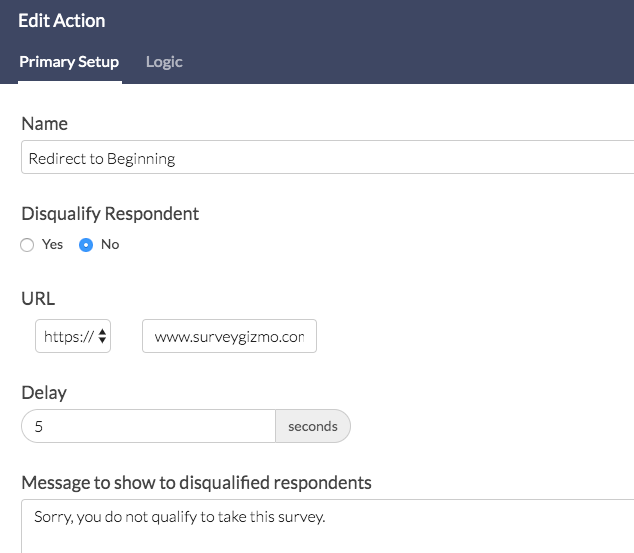 URL Redirect Action Setup
