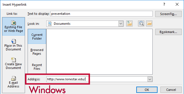 Indicates Address field for the Windows version of Word