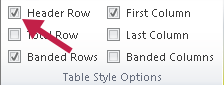 Identifies Header Row checkbox