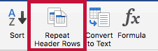 Indicates Repeat Header Rows