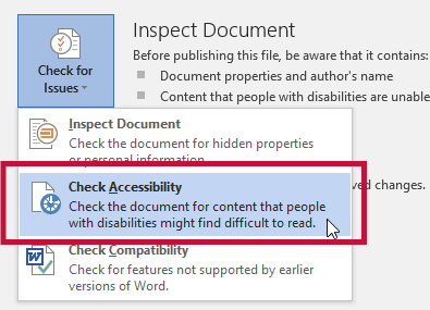 Indicates Check Accessibility