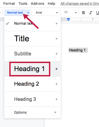 Indicates the Styles menu in Google Docs and Identifies Heading1 selection.