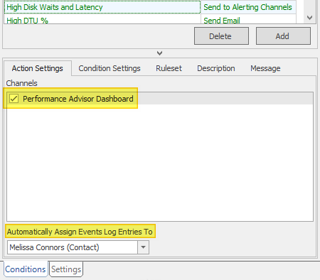 SentryOne Send To Alerting Channels Action Settings