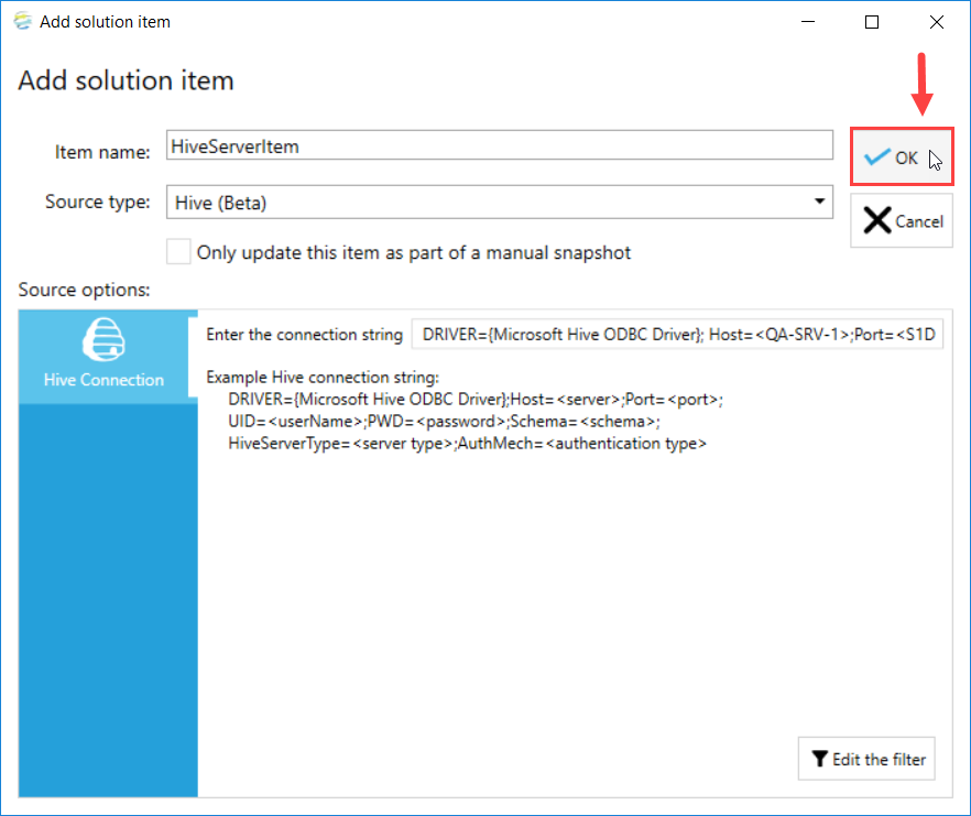 DOC xPress Add Solution Item Hive Server select Ok