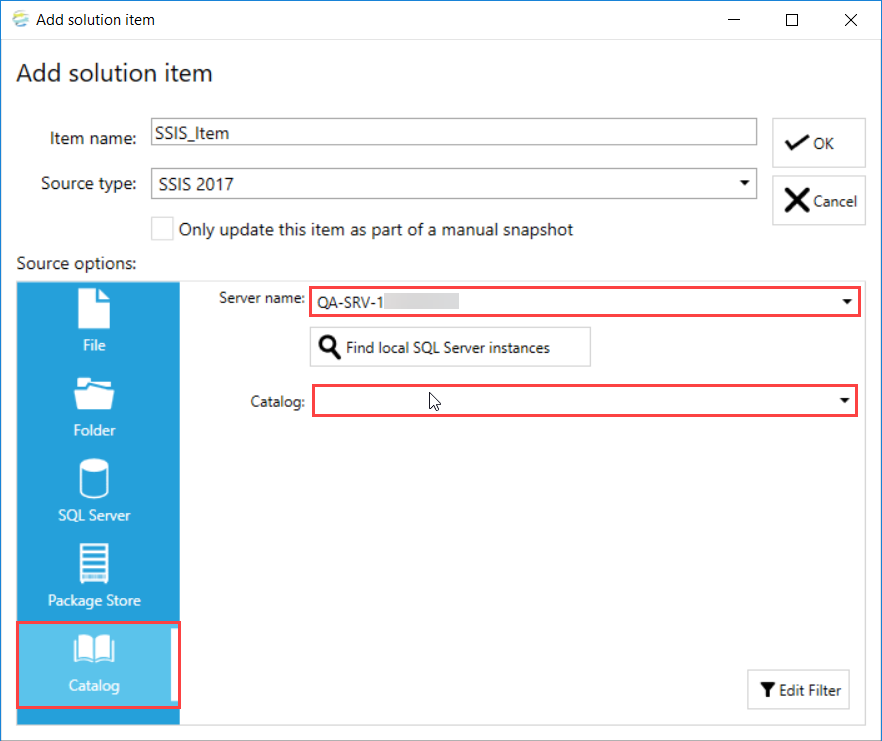 DOC xPress Add Solution Item SSIS Catalog