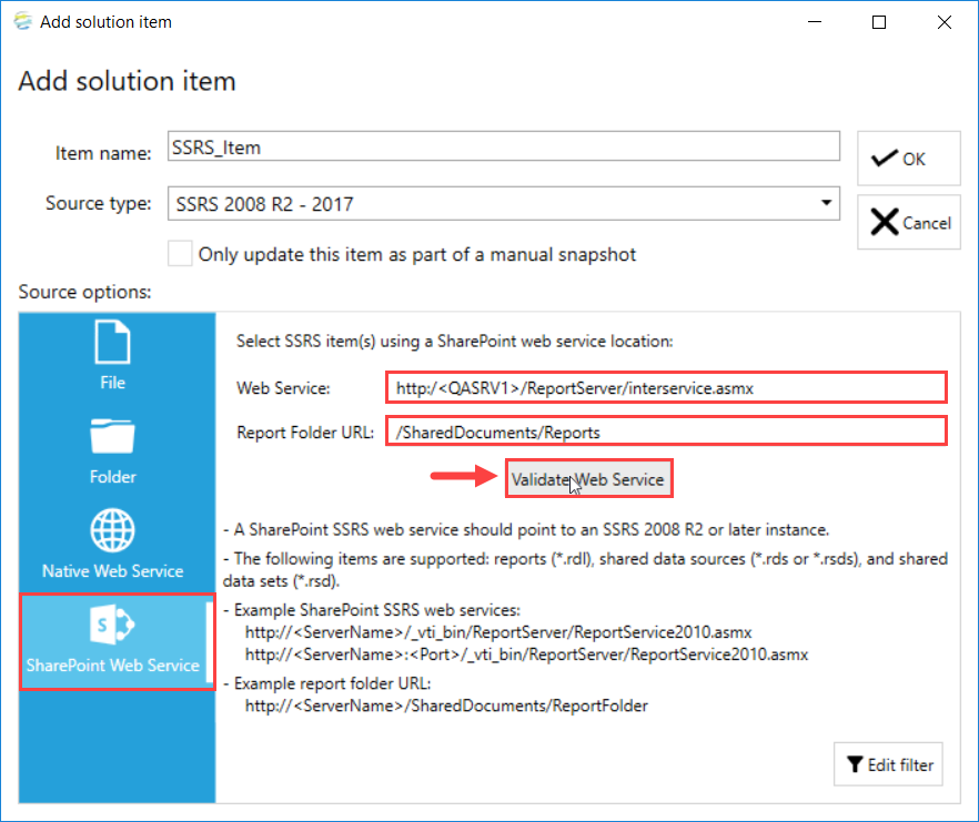 DOC xPress Add Solution Item SSRS SharePoint Web Service